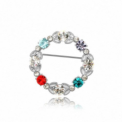 TAOTAOHAS- [ Search Name: Sweet Flower Branch ] (1PC) Crystallized Swarovski Elements Austria Crystal Brooch, Made of Alloy Plated with 18K True Platinum / White Gold and Czech Rhinestone
