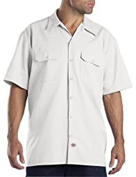 Dickies Men's Short Sleeve Work Shirt, White, Large