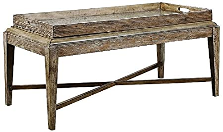 """Uttermost 24526 Marek - 48"""" Coffee Table, Light Gray Wash Finish with Antique Mirror Glass"""