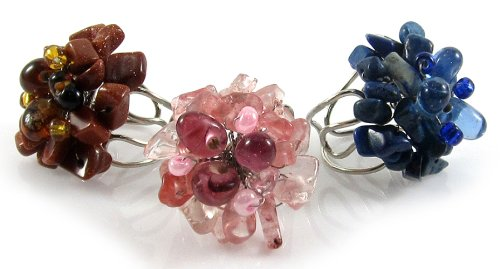 MGD, 'Kunzite, Lapis Lazuli and Gold Sandstone Rings', Set of 3 Genuine Gemstone Adjustable Flower Rings in Pink, Blue, and Brown, Fashion Jewelry for Women, Teens and Girls , JB-0017