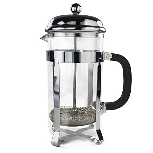 Simple Chef Stainless Steel French Press - Best Coffee Pot Press & Tea Maker w/ Heat Resistant Shatterproof Glass - Great Gift Idea - Set Includes Plunger, Frame, Filters & Spoon