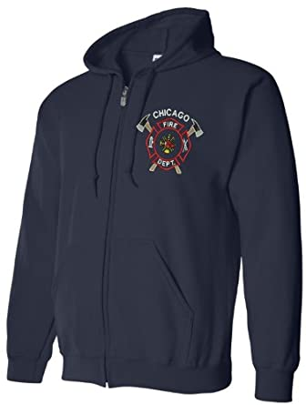 Chicago Fire Department Cross Axe Full Zip Navy Hoodie by Gildan