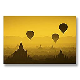Neron Art - Hand painted Cityscape Oil Painting on Rolled Canvas for Living Room Wall Decor - Misty Morning In Bagan 48X32 inch
