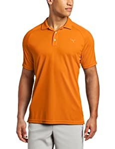 Puma Golf NA Men's Raglan Tech Polo Tee, Vibrant Orange, X-Large