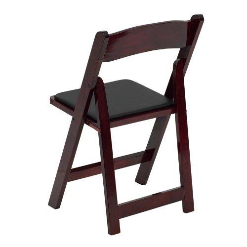 Flash Furniture XF-2903-MAH-WOOD-GG Hercules Series Mahogany Wood Folding Chair with Vinyl Padded Seat