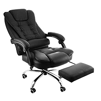 Happybuy Exectuive Swivel Office Chair with Footrest PU Leather Ergonomic Office Reclining Chair Adjustable High Back Office Armchair Computer Napping Chair Managerial Swivel Chair