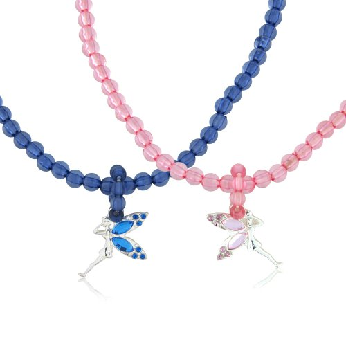 2 children's necklace with diamante fairy pendant - 1 blue and 1 pink - includes 2 gift bags
