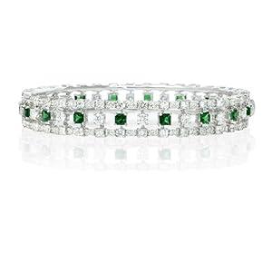 Diamond and Tsavorite 18k White Gold Bangle Bracelet