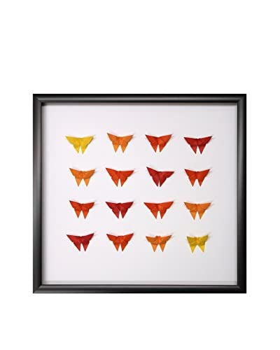 Yellow & Orange Ombre Hand-Folded Origami Butterflies, 18 x 19