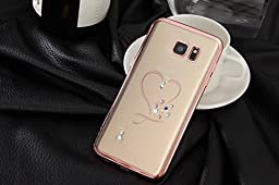 Inspirationc® Glitter Bling Crystal Rhinestone Diamonds Clear Rubber Electroplate Plating Frame TPU Soft Silicone Bumper Case Cover for Samsung Galaxy S7--Rose Gold and Heart