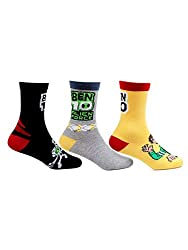 Bonjour Kids Cotton Crew Length Multicolor Pack of 3 Pairs Ben10 Socks (02(2-5 Years))