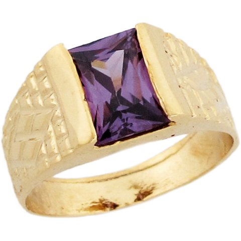 14k Gold Synthetic Amethyst February Birthstone