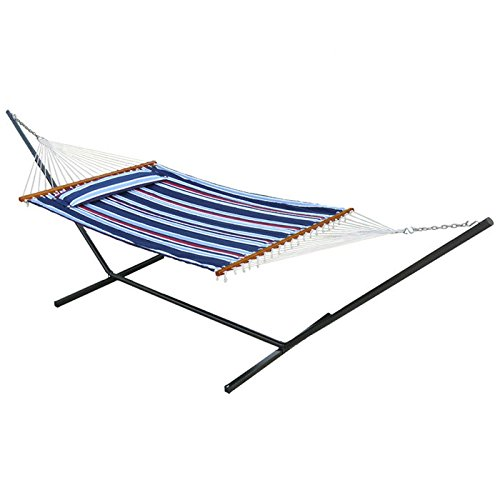 Reversible Quilted Fabric Cotton Hammock with Steel Stand, Two Person, Free Standing, Navy Stripe