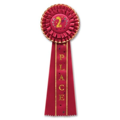 Beistle RD11 2nd Place Deluxe Rosette, 41/2 by 131/2-Inch