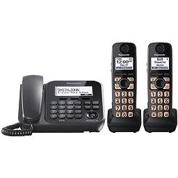 Panasonic KX-TG4772B Dect_6.0 2-Handset 1-Line Landline Telephone
