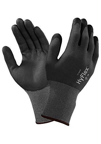 Ansell HyFlex 11-840-Guanti multiuso con manico maglia, nonché alla linea di demarcazione e all'abrasione, colore: grigio (Confezione da 12 paia), 6, 12