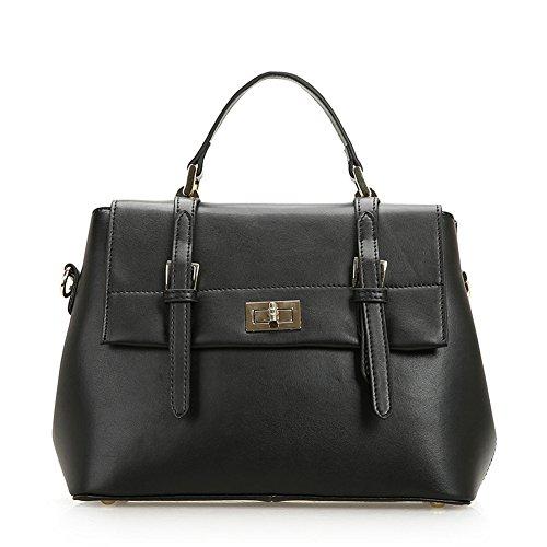 Fashion Genuine Leather Clutch Cross-Body Shoulder Handbag 010508 (Black)