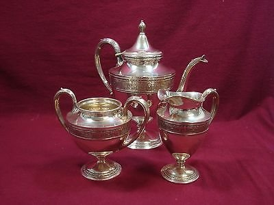 Wedgwood By International Sterling Silver Tea Set Coffee Sugar Creamer 3Pc