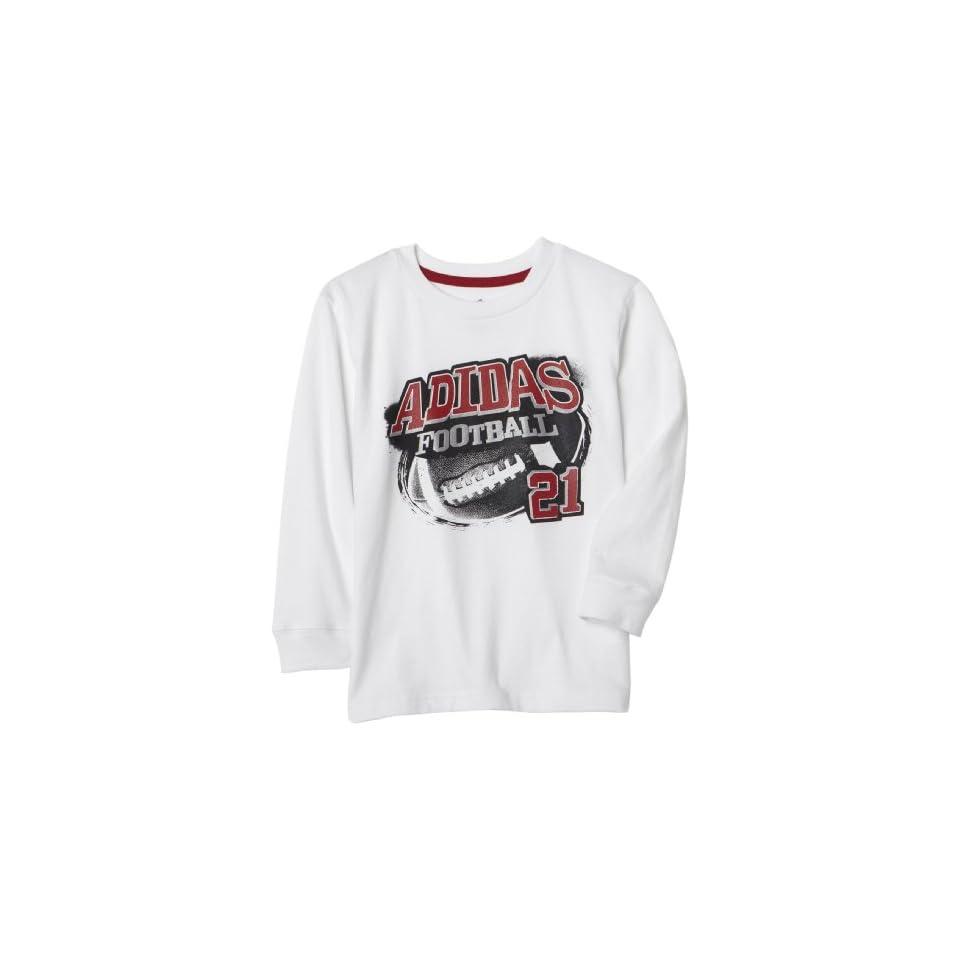 Adidas Little Boys Half Sport Long Sleeve Tee Shirt,White,2T