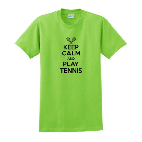 Keep Calm And Play Tennis T-Shirt Medium Lime