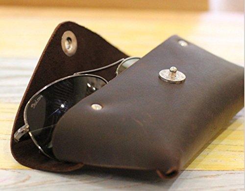 YAAGLE Genuine Leather Glasses Bag Case Soft Vintage Handmade 2