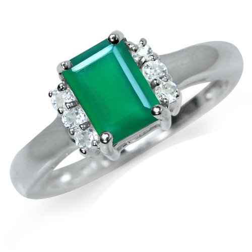 Natural Emerlad Green Agate&White Topaz Sterling Silver Engagement Ring Size 8