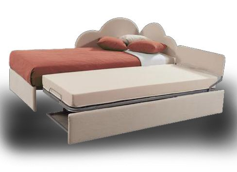 Lit simple avec lit gigogne en tissu Réseau avéc lattes larges et matelas