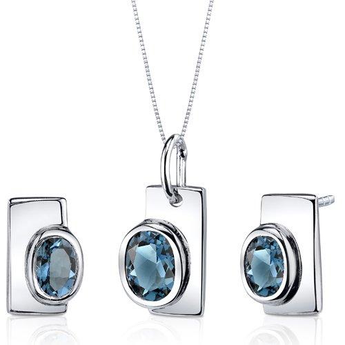 Revoni Art Deco Bezel Set 1.75 carats Sterling Silver with Rhodium Finish London Blue Topaz Pendant Earrings Set