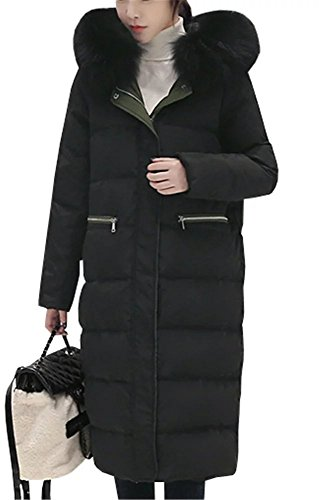 Women's Winter Fur Hoodie Thick Long Quilted Parka Down Coat Overcoat White (Ll Bean Womens Quilted Jacket compare prices)