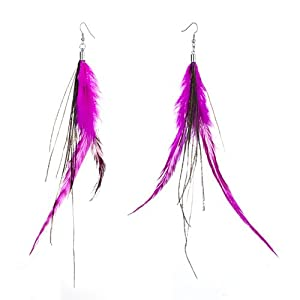 Pugster Fine Double Deep Pink A Few Green Feather Dangle Knot Earrings