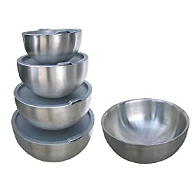 Universal Housewares 268 4 Piece Double Wall Stainless Steel Mixing Bowl Set with Seal Tight Lids