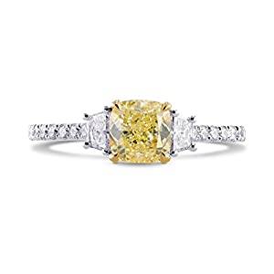 1.7Cts Yellow Diamond Engagement Ring Set in 18K White Yellow Gold
