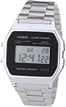 Casio CASIO Collection Men - Reloj digital de caballero de cuarzo con correa de acero inoxidable plateada (alarma, cronómetro, luz)