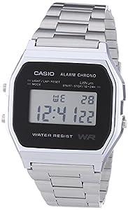 Casio - A158WEA-1EF - Vintage - Montre Mixte - Quartz Digital - Cadran Noir - Bracelet Acier Argent