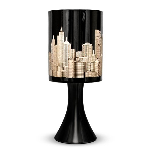 Gloss Black Touch Table Lamp with New York Skyline Shade