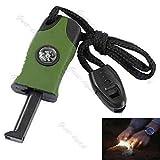 3 In1 Flint Stone Survival Magnesium Fire Starter Lighter + Whistle + Compass Green