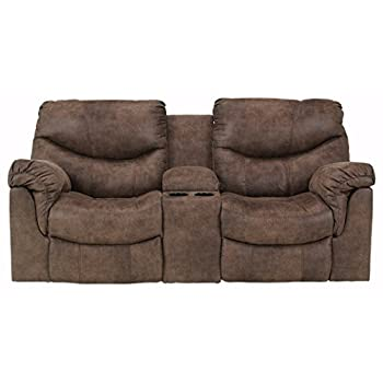 Ashley Furniture Signature Design - Alzena Recliner Loveseat with Console - Manual Reclining Couch - Gunsmoke Brown