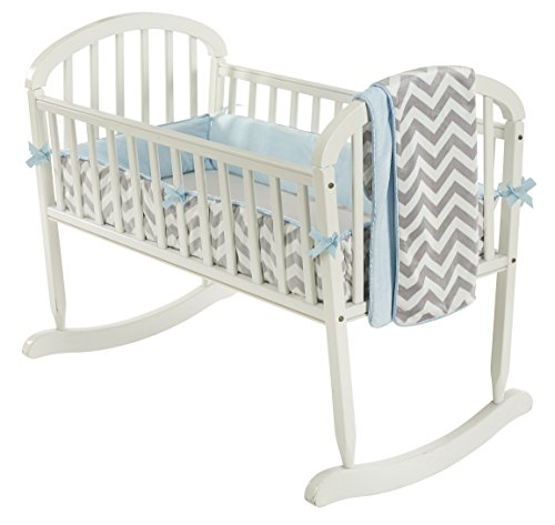 Baby Doll Minky Chevron Cradle Bedding Set, Blue