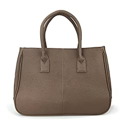 Hoxis Summer Colorful Basic Handbag Office Lady Minimalist Pebbled Faux Leather Tote/ Magnetic Snap Purse(Coffee)