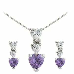 Sterling Silver Simulated Amethyst and Cubic Zirconia Graduating Heart Earring and Slide Pendant Set