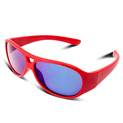 RIVBOS RBK031 Rubber Flexible Kids Polarized Sunglasses Glasses Age 3-10 (Red Coating Lens)