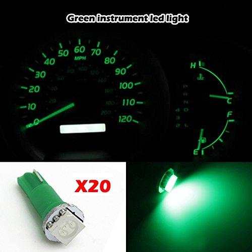 Partsam 20X T5 74 70 37 Green Wedge Instrument Dashboard Led Bulb Light 57 37 73 257 For 1997-2012 Honda Cr-V