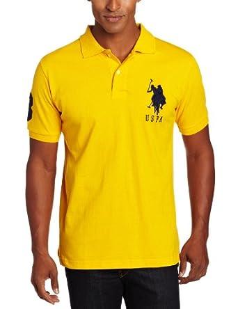 U.S. Polo Assn. Men's Solid Short Sleeve Pique Polo, Egg Yoke, X-Large