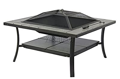 Foxhunter Outdoor Garden Steel Fire Pit Firepit Brazier Square With Tile Table Patio Heater Stove Brown Bbq With Cover Fp-03 from KMS