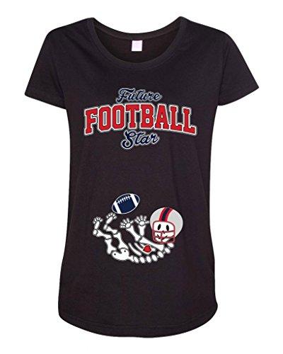 Future Football Star New England Baby Skeleton Maternity Dt T-Shirt Tee (Medium, Black)
