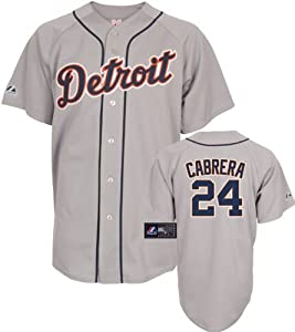 MLB Mens Detroit Tigers Miguel Cabrera Road Gray Short Sleeve 6 Button Synthetic... by Majestic