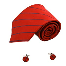 1199 Red Checkers Classic Personalised Neckties Silk Cufflinks Set By Y&G
