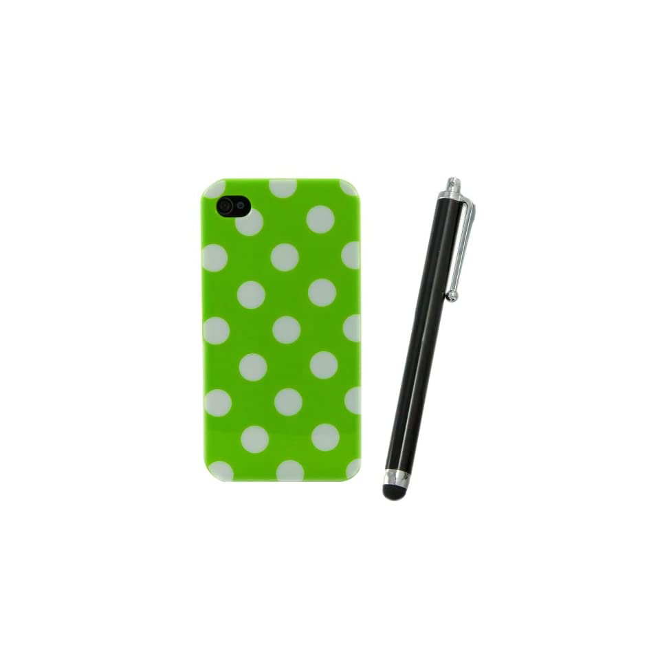 Brightgate NEW Cute WHITE GREEN Polka Dot TPU SNAP ON Hard Case Cover For APPLE iPhone 4/4s With Black Stylus Pen