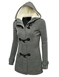 J.TOMSON Womens Toggle Hooded & Double Breasted Trench Coat HEATHERGRAY S