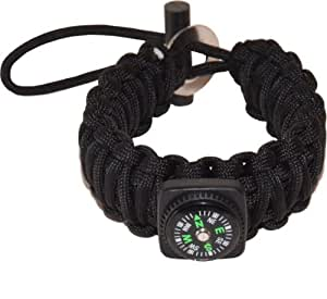 Llamamia Adjustable Paracord Bracelet with Fire Starter and Compass